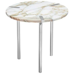 Sereno Side Table/ End Table in Calacatta Marble and Polished Silver