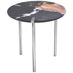 Sereno Side Table or End Table in St. Laurent Marble and Satin Silver