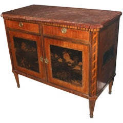 18th Century Dutch Marble Top Buffet with Chinoiserie Panels