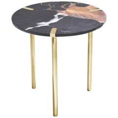 Sereno Side Table / End Table in St. Laurent Marble and Polished Gold