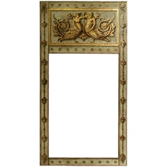 Large Antiqued Hand-Painted and Gilded Neoclassical Trumeau Mirror Frame