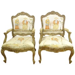 Pair of Antique French Louis XVI Style Fauteuils Armchairs