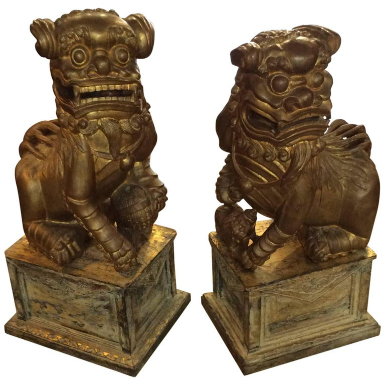 pair of temple sized wooden fu lions for sale at 1stdibs