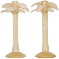 Cenedese Midcentury Murano Glass and Gold Candlesticks