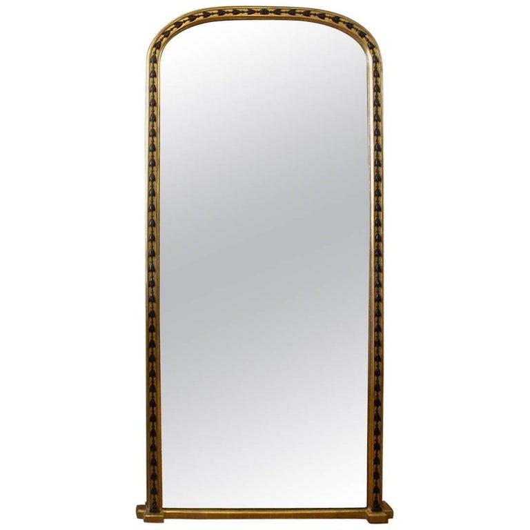 19th Century English Giltwood and Ebonized Hall / Dressing Mirror