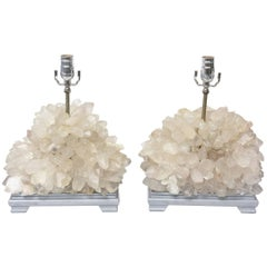 Pair of Vintage Carole Stupell Quartz Rock Crystal Table Lamps