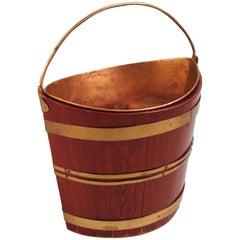 Regency Mahogany Navette Form Brass-Bound Peat Bucket