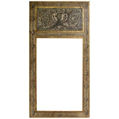 Large Antiqued Hand-Painted and Gilded Neoclassical Trumeau Mirror Frame in Gray