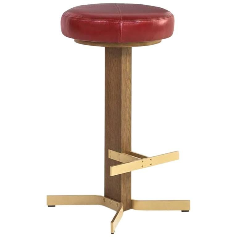 Walcott Barstool White Oak And Solid Br Base Red Leather Seat