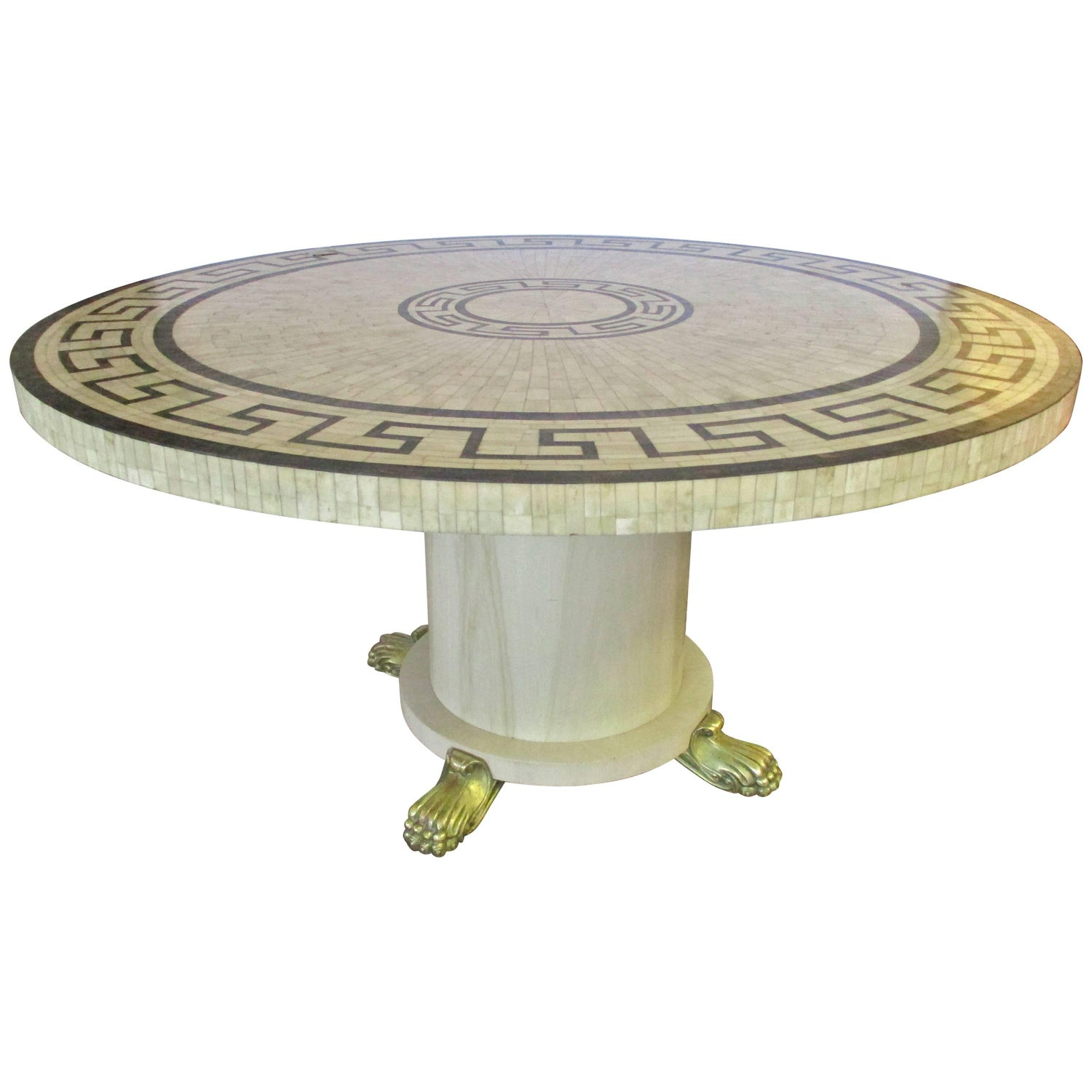Bone Inlay Round Table with Greek Key Design For Sale at 1stdibs