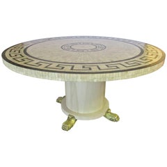 Bone Inlay Round Table with Greek Key Design