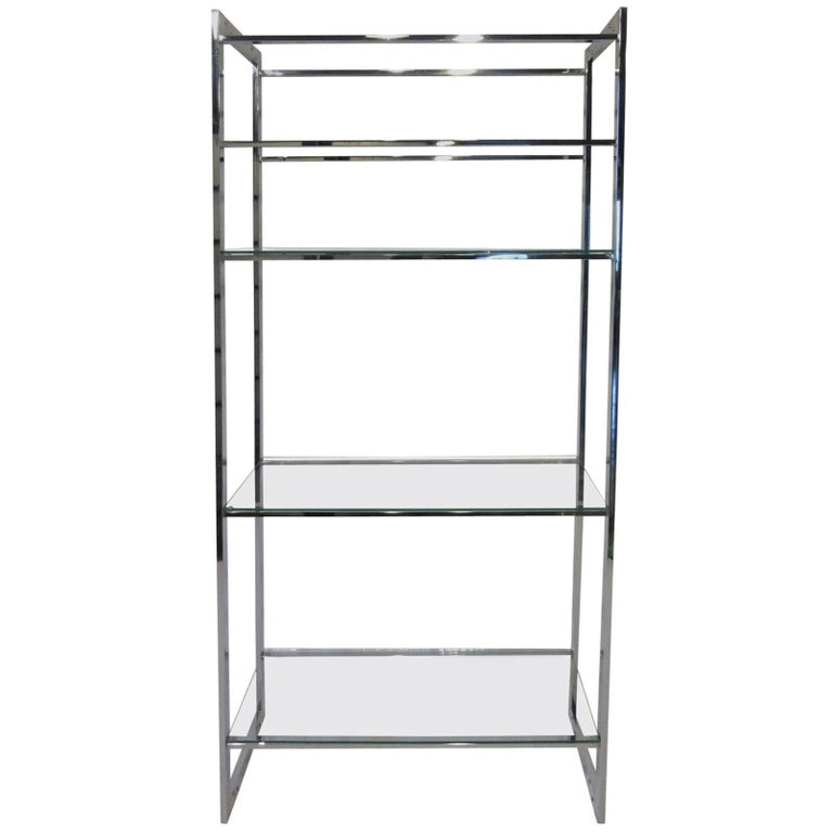 Milo Baughman Styled Chrome and Glass Etagere