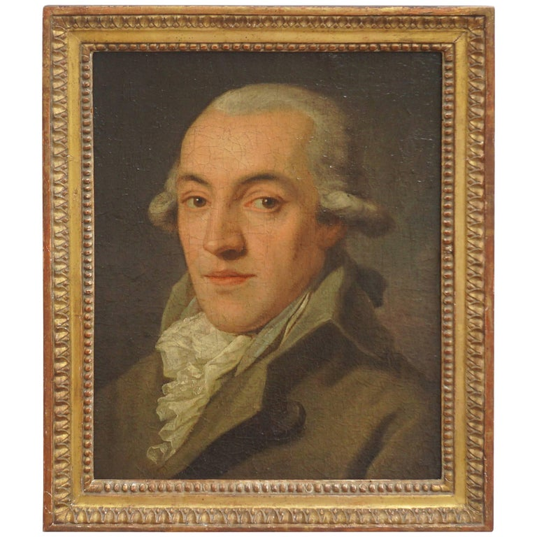 Portrait Painting of a Bewigged Gentleman, Prague, circa 1780 For Sale