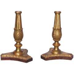 Pair of 18th Century Italian Neoclassical Giltwood Candleholders