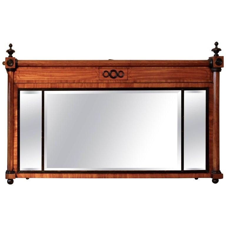 19th Century English Satinwood Inlaid Triple Plate Pier Mirror