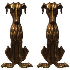 Pair of Extra Large Art Deco Hound Dog Motife Andirons