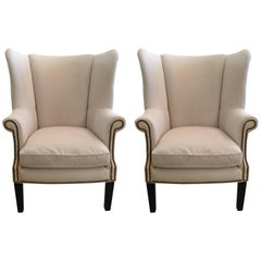Sophisticated Pair of Cotton Duck Upholstered Wing Chairs