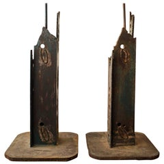 1960s Torch Cut Steel Brutalist Lamps