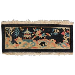 Antique Art Deco Chinese Nichols Pictorial Mat, Village Pagoda Scene