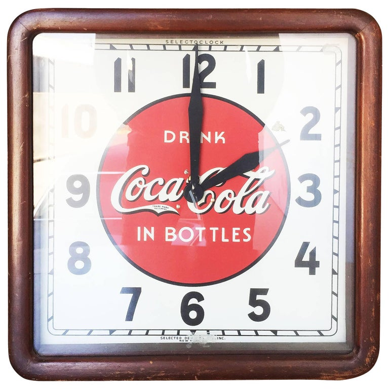 Coca-Cola Art Deco Style Wall Clock For Sale at 1stdibs