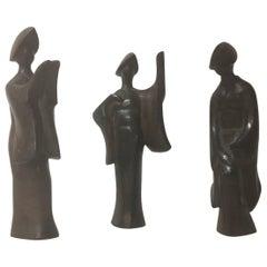 Set of Three Midcentury Bronze Japanese Geisha Figurines