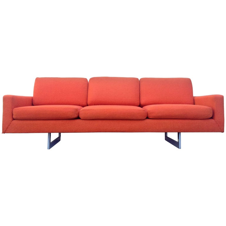 Bright Orange Architectural Mid Century Modern Sofa For