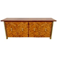 Mastercraft Burl Wood and Brass-Mounted Credenza or Sideboard