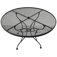 Salterini Pierced Wrought Iron Circular Patio Table, Restored