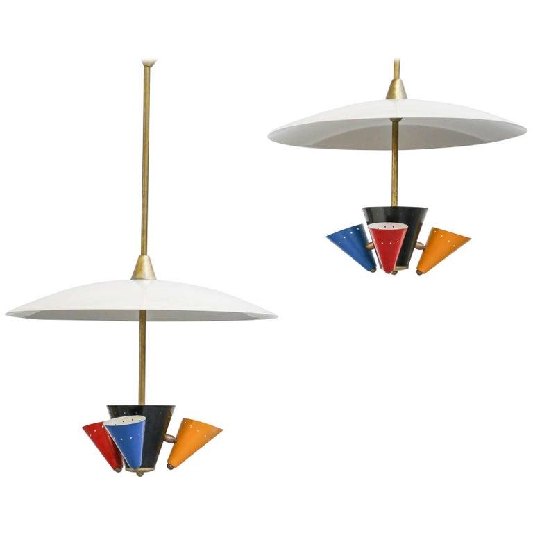 Pendant Lamp in the Style of Gino Sarfatti 1950s Stilnovo For Sale