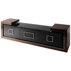 Macassar Ebony Sideboard with high gloss natural color finish, Handmade in Italy