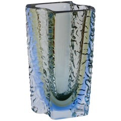 Huge & Monumental Textured Murano 'Sommerso' Blue Ice Glass Vase by Mandruzzato