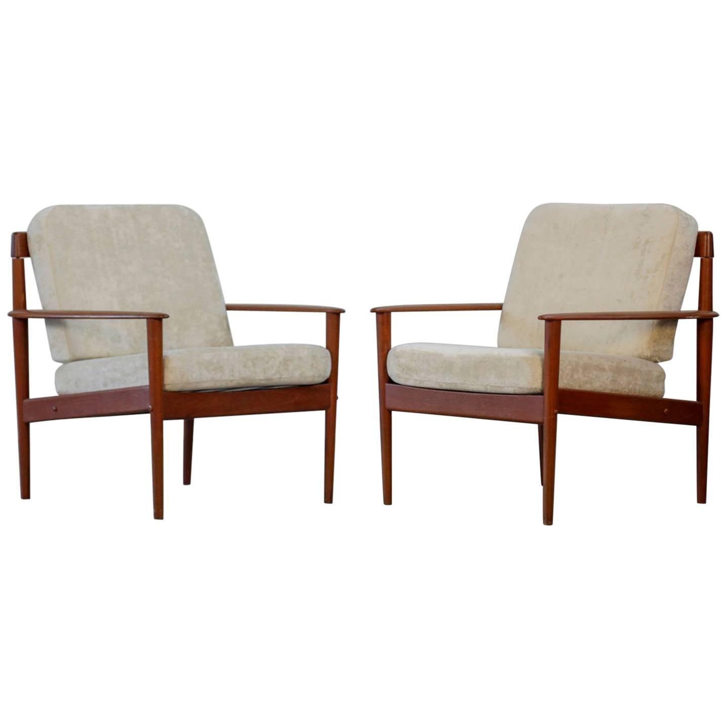 Pair of Lounge Chairs Grete Jalk Danish Teak, 1960s