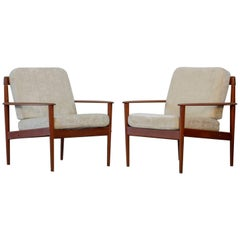 Pair of Lounge Chairs Grete Jalk Danish Teak, 1960s
