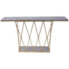 Style Jean Royère, Console, Gilded Metal and Marble, circa 2000, France