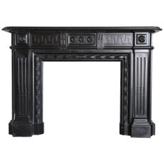19th Century Monumental Black Marble Antique Fireplace Surround