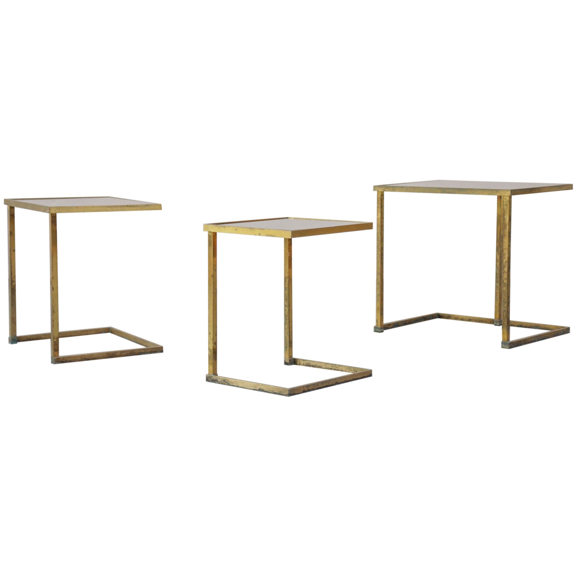 Nesting Brass Tables 1960s with Mirror on Top