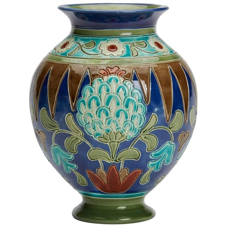 Burmantofts Faience Partie Color Persian Floral Vase At 1stdibs