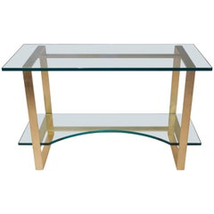 Style Jean Royère, Console, Gilded Metal and Glass Top, circa 2000, France