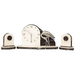 Art Deco Modernist Clock with Matching Garniture Set