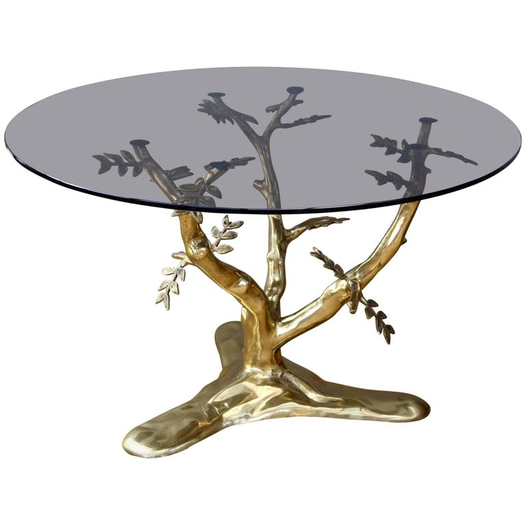 Organic Cast Brass 'Bonsai Tree' Coffee Table In The Style