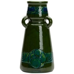 Burmantofts Faience Loop Handled Patterned Vase