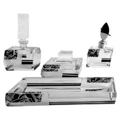 Art Deco Karl Palda Bohemia Crystal Perfume Spray Bottle Vanity Box Set, 1930s