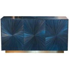 Flair Edition Blue Straw Marquetry Sideboard