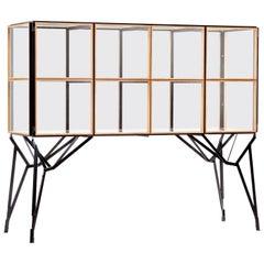 4 x 2 Blk Oak Showcase Cabinet by Paul Heijnen, Handmade in Netherlands