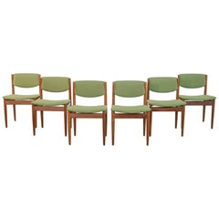 Set Six Teak Finn Juhl Chairs Model 197 Scandinavian