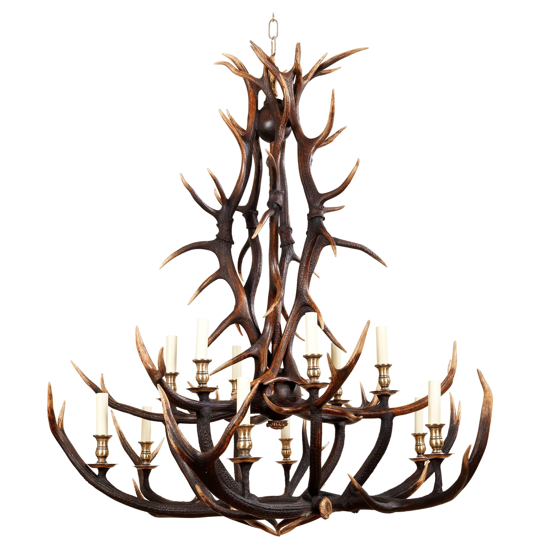 Anthony redmile scottish red deer antler or stag horn chandelier for anthony redmile scottish red deer antler or stag horn chandelier for sale at 1stdibs arubaitofo Gallery
