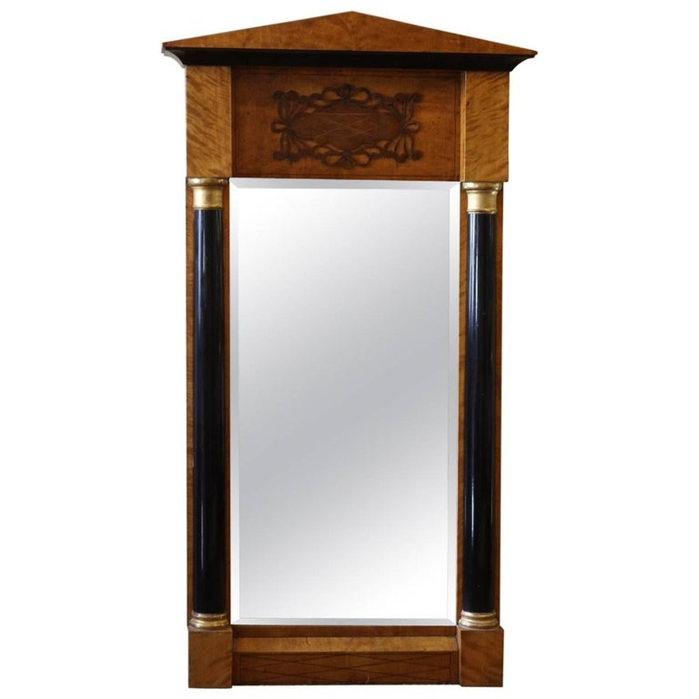 19th Century Biedermeier Style Inlaid Tabernacle Style Mirror