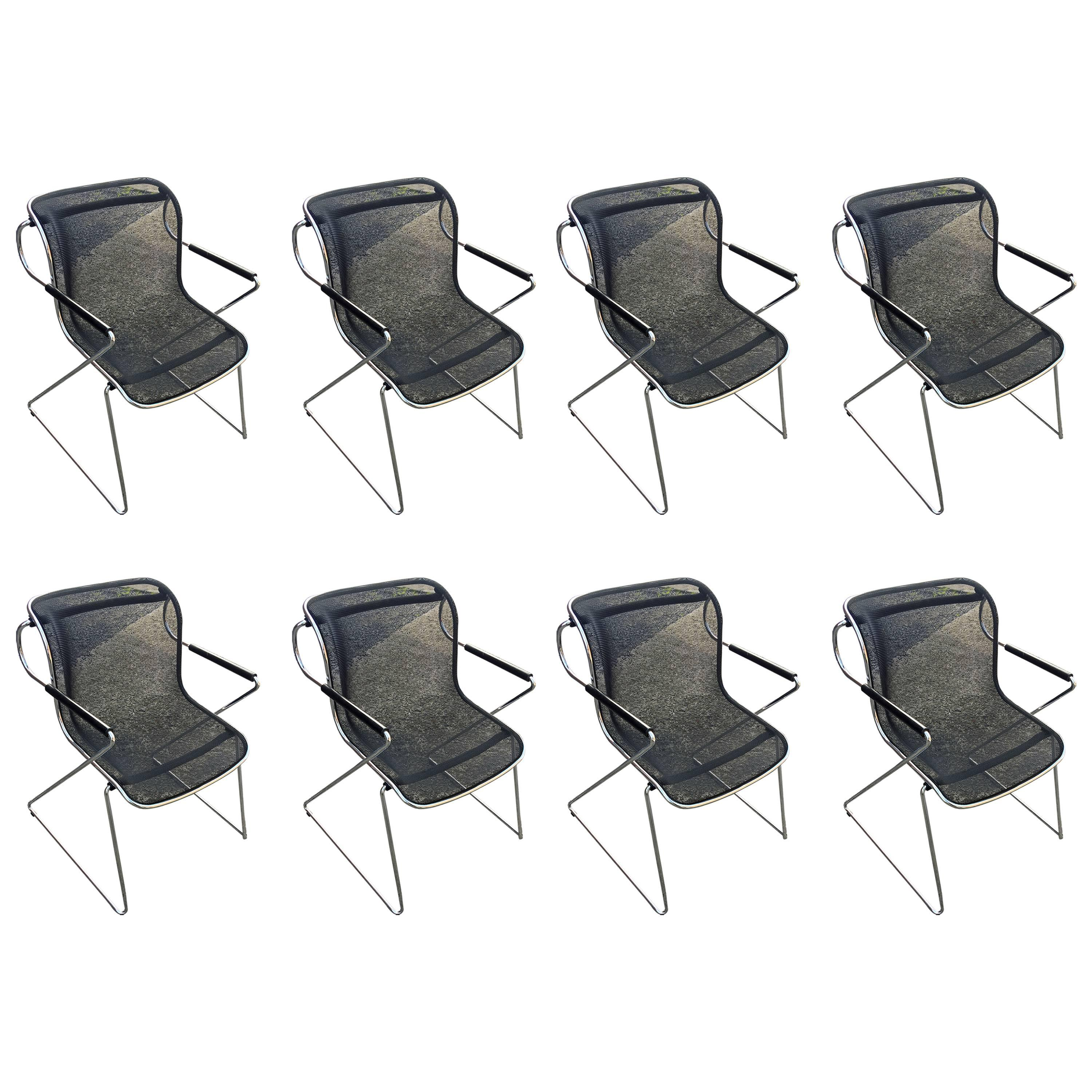 Charles Pollock, Set of Height Penelope Chairs in Chrome and Meshed Metal