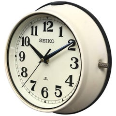 1970s Green Seiko Retro Vintage Industrial Antique Steel Quartz Wall Clock Cream