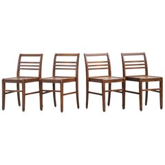 Set of Four Oak Dining Chairs, Rene Gabriel, 1940s